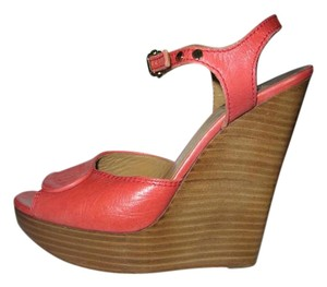 Chlo Heels Platform Sandals Chloe Coral Orange Wedges