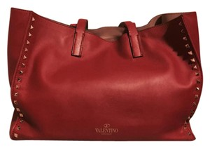 Valentino Women's Black Rockstud Large Tote in Red