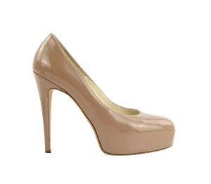 Brian Atwood Nude Patent Leather Beige Pumps