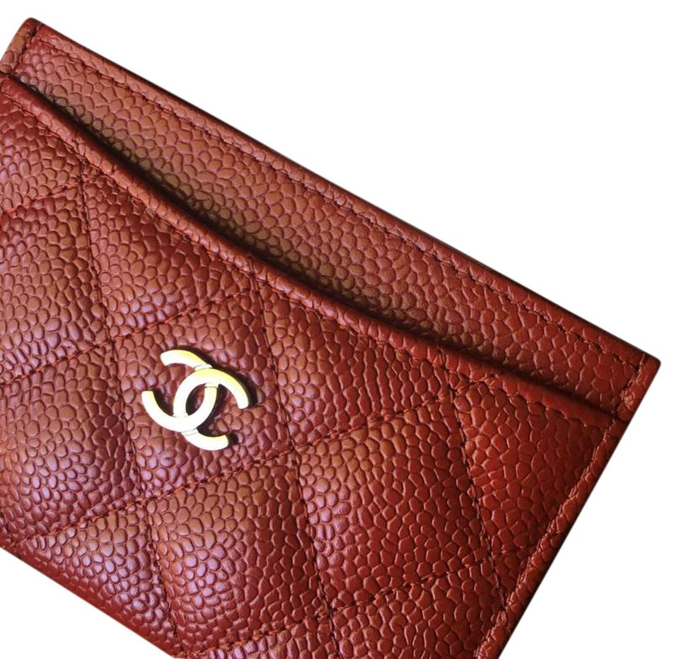 48ca0f8a00e60f Chanel Red with Silver Hardware Card Holder - Caviar Leather Wallet ...