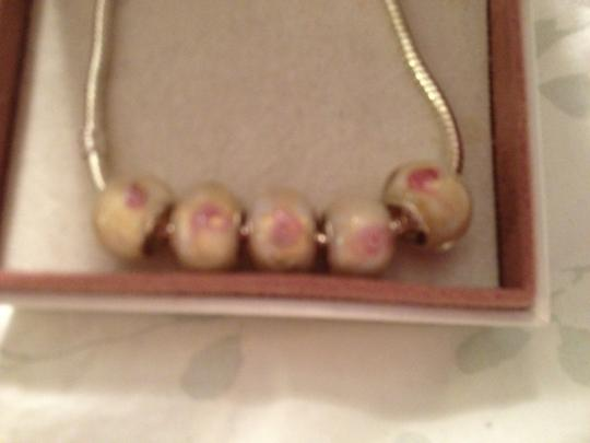 Pugster Set of 5 beads; European Style Murano Lampwork glass Beads;. Pink Beads.