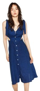Zara short dress Blue Summer Linen Cut Out Denim Chambray on Tradesy