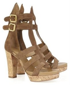 Chlo Cork Suede Chloe Sandals Brown Platforms