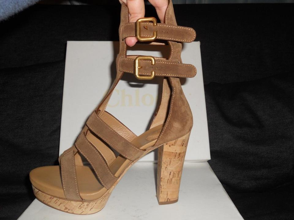 be268a8397 Chloé Brown Suede Gladiator Ankle Strap Open Toe Cork Heels Sandals ...