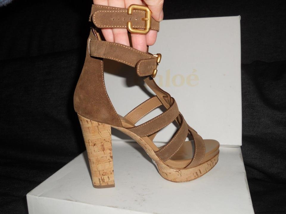 99f00f71ce2 Chloé Brown Suede Gladiator Ankle Strap Open Toe Cork Heels Sandals ...