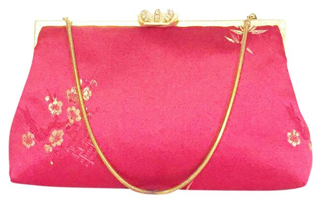Item - Vintage Silkhandmade Kisslock Rhinestone Red Silk Clutch
