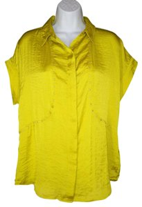Michael Kors Satin Sheen Studded Relaxed Top Chartreuse
