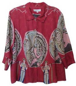 Citron Silk Oversized Art Deco Medium Top Red + Multi-Color