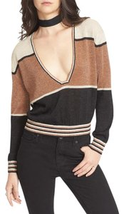 Free People Color-blocking V Neck Sweater