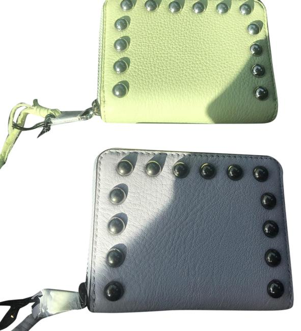 Item - Pale Green & Burgundy Mini Ava Zip with Studs Wallet