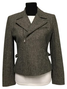 Lauren Ralph Lauren Tweed Asymmetric Zipper brown Blazer