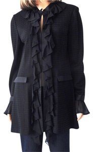 St. John Silk Ruffle Mandrian Collar Black Jacket