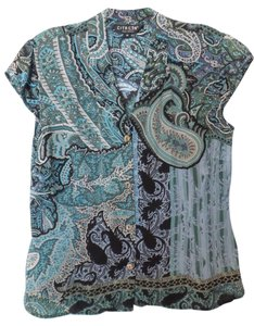 Citron Silk Medium Fited Paisley Top Blue, Green, Taupe / Grey, Black +