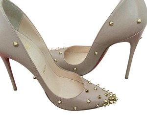 Christian Louboutin Kid Leather Gold Studs Red Bottoms nude Pumps
