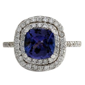 Fashion Strada 2.95CTW Natural Tanzanite Diamond Ring 14K Solid White Gold