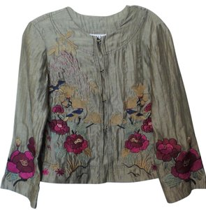 Citron Embroidered Linen Light Asian Taupe + Multi-Color Jacket