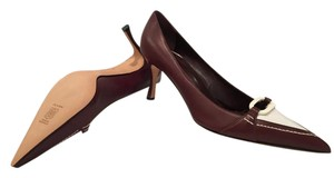 Manolo Blahnik Brown and White Pumps