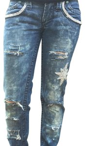 Other Embellished Bedazzled Aged Boot Cut Jeans-Distressed