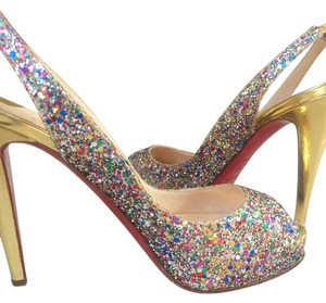 Christian Louboutin Gold-tone glitter Pumps