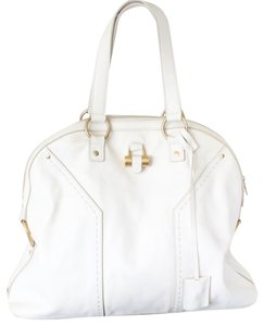 Saint Laurent Ysl Brass Leather Tote in Ivory