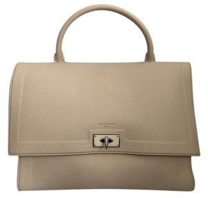 Givenchy Leather Shark Lock Front Flap Satchel in Beige
