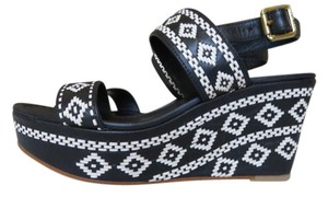 Tory Burch Asteca Design Leather Black Wedges