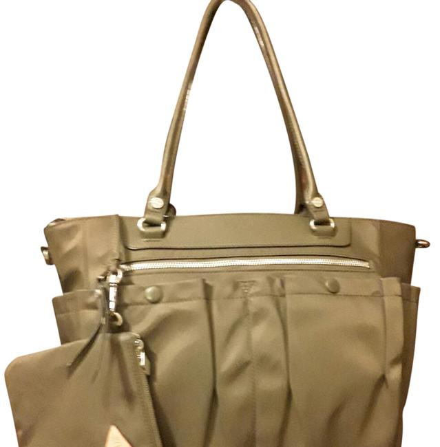 Item - Mayfair Olive Green with Silver Hardware Nylon Leather Trim Tote