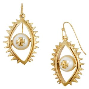 Tory Burch NEW Evil Eye Drop Pearl Earrings, Gold