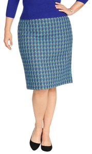 Talbots Plus Size Woman's Size Curvy Classic Houndstooth Skirt Royal Blue, Turquoise & Gray