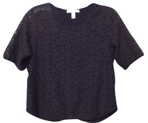 Weston Wear Embroidered Knit Split Anthropologie Cutout Top Black