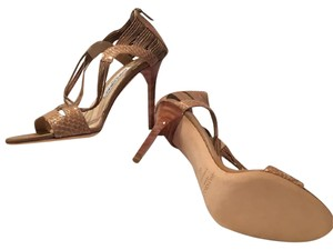 Jimmy Choo Tan leather and Snakeskin Sandals