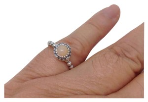 PANDORA size 6.25, October Birthday Blooms sterling silver ring - Pink Opal