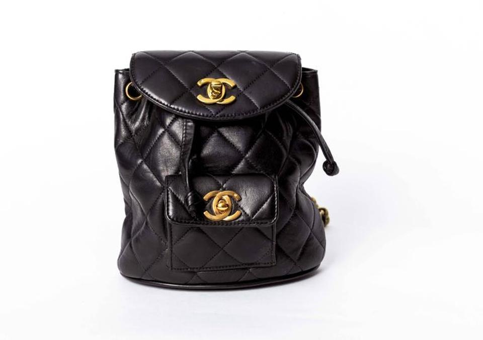 4c68540a32e8 Chanel Rare Vintage Quilted Mini Black Lamskin Leather Backpack ...