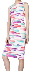 Vince Camuto short dress off white with purple, pink and teal on Tradesy