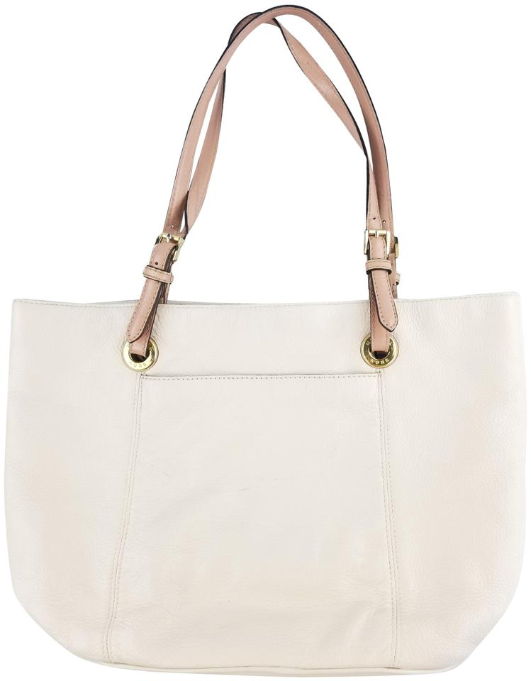 Michael Kors Refurbished Cream Leather Extra Large Lined Tote In White