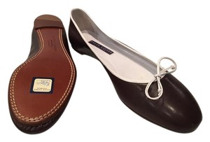 Ralph Lauren Collection Brown with white leather trim and tie Flats