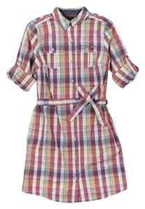 Tommy Hilfiger short dress multi color Button-up Shirt Plaid Checkered Longsleeve on Tradesy