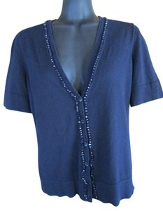 Ann Taylor LOFT Sweater Spring Lightweight Navy Beaded Cardigan