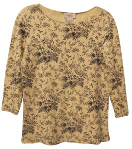 Talbots Knit Toile Asian Oversized Stretch Knit Top Yellow, blue