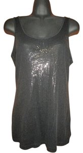 Express Sequin Spring Summer Casual Stretch Top Black