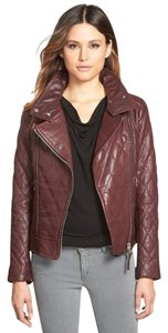 Mackage Leather Moto Quilted Bordeaux Jacket