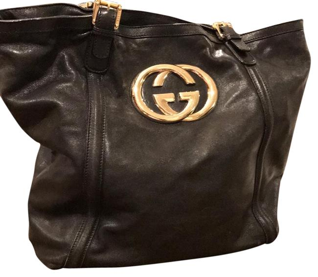 Item - Black Red Stripe Cloth Lining All Gold Hardware Lambskin Leather Tote