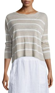 Eileen Fisher Linen Bateau Crepe Crop Sweater
