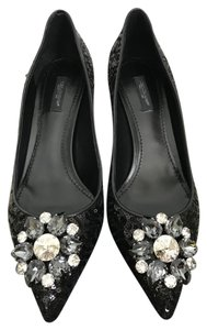 Dolce&Gabbana Dolce & Gabbana Sequin Crystal Pointed Toe Black Pumps