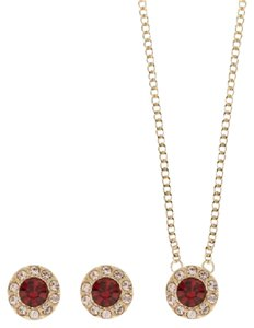 Givenchy Swarovski Crystals Gold-Tone red Necklace and Earring Set