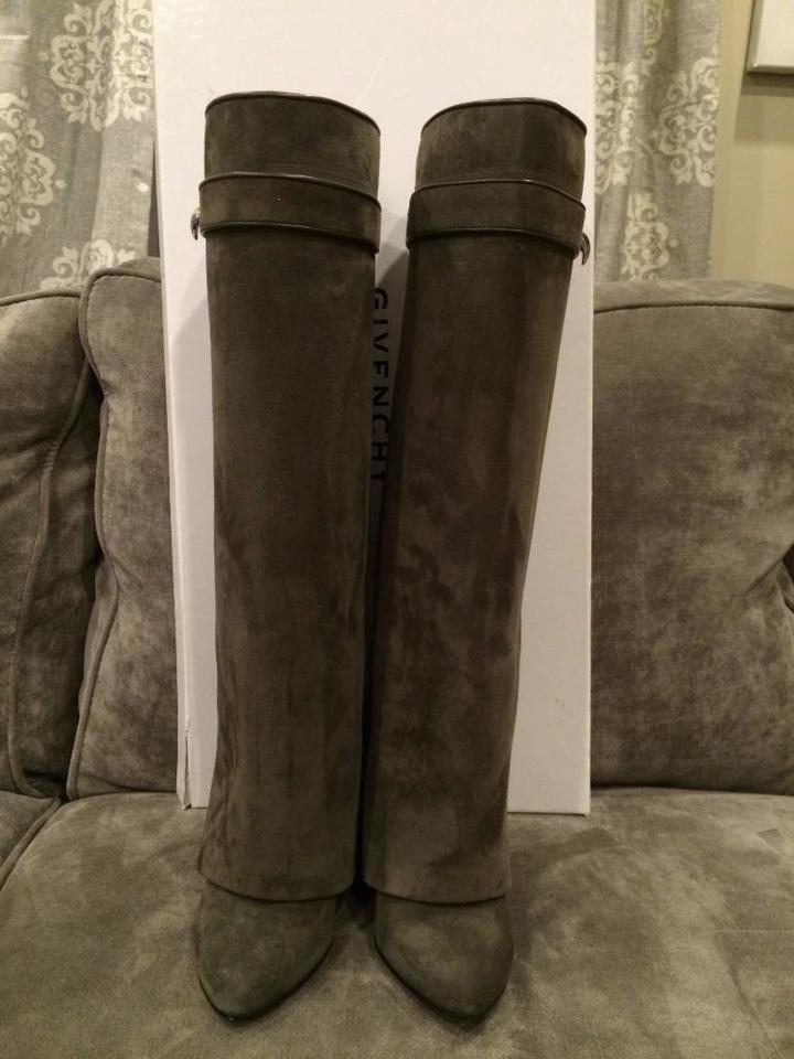 Givenchy Grey Pant Shark Wedge Foldover Lock Knee Boots Booties Heel Khaki High Suede Gaiter r6X5Urqx