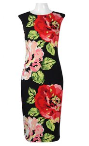 London Times Midi Cap Sleeve Floral Print Sheath Dress