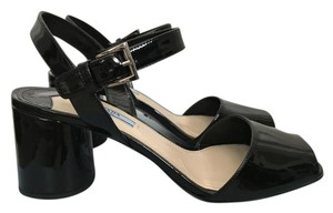 Prada Patent Leather Ankle Strap Chunky Heel Black Sandals