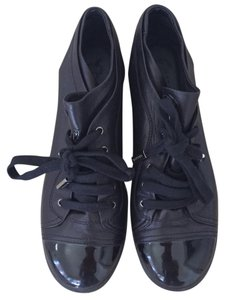 Chanel Sneakers Leather Low Top Black Athletic