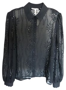Maje Embroidered Lace Sheer Flowy Button Down Shirt Black